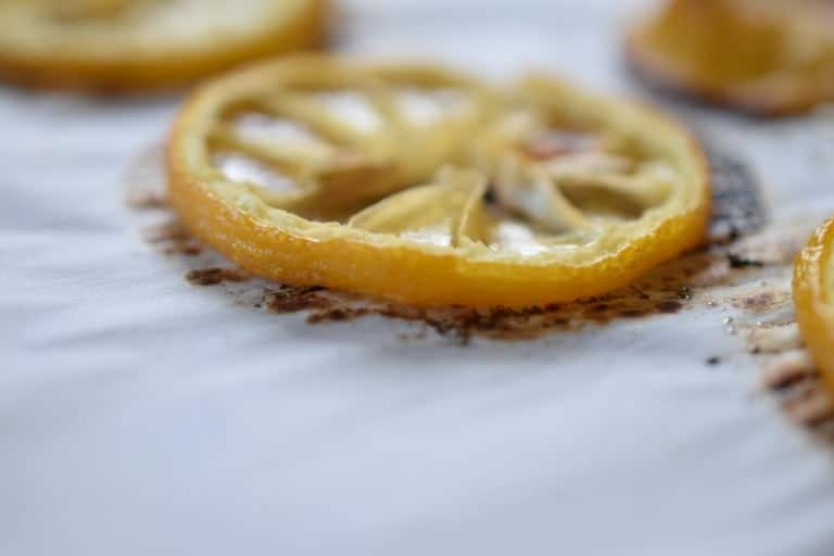 closeup of roasted lemon slice