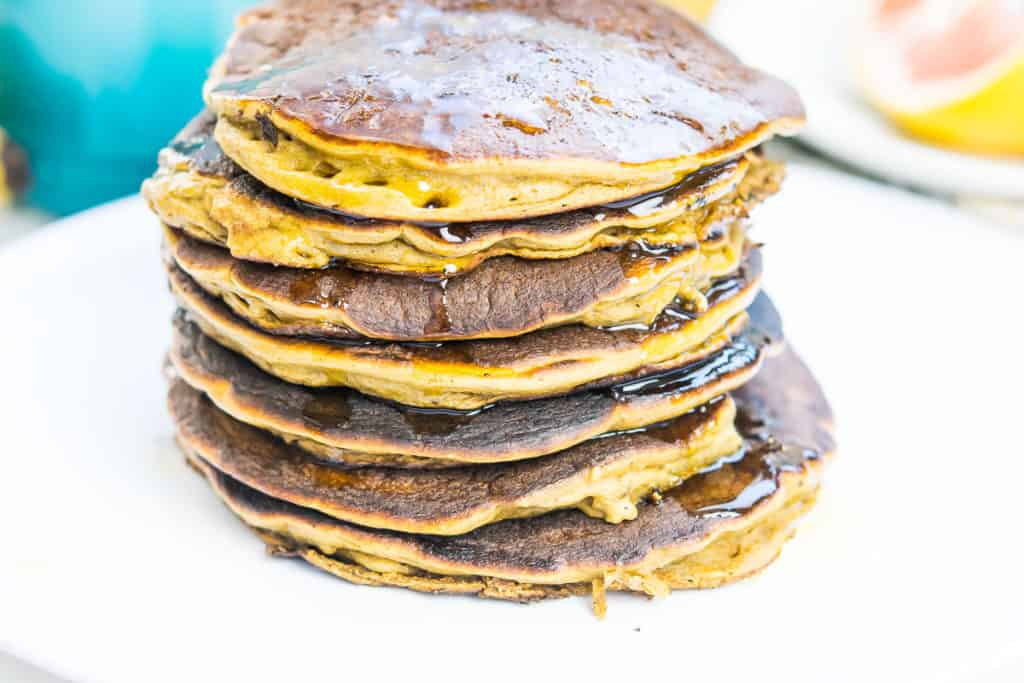 A stack of 7 fluffy plantain pancakes.
