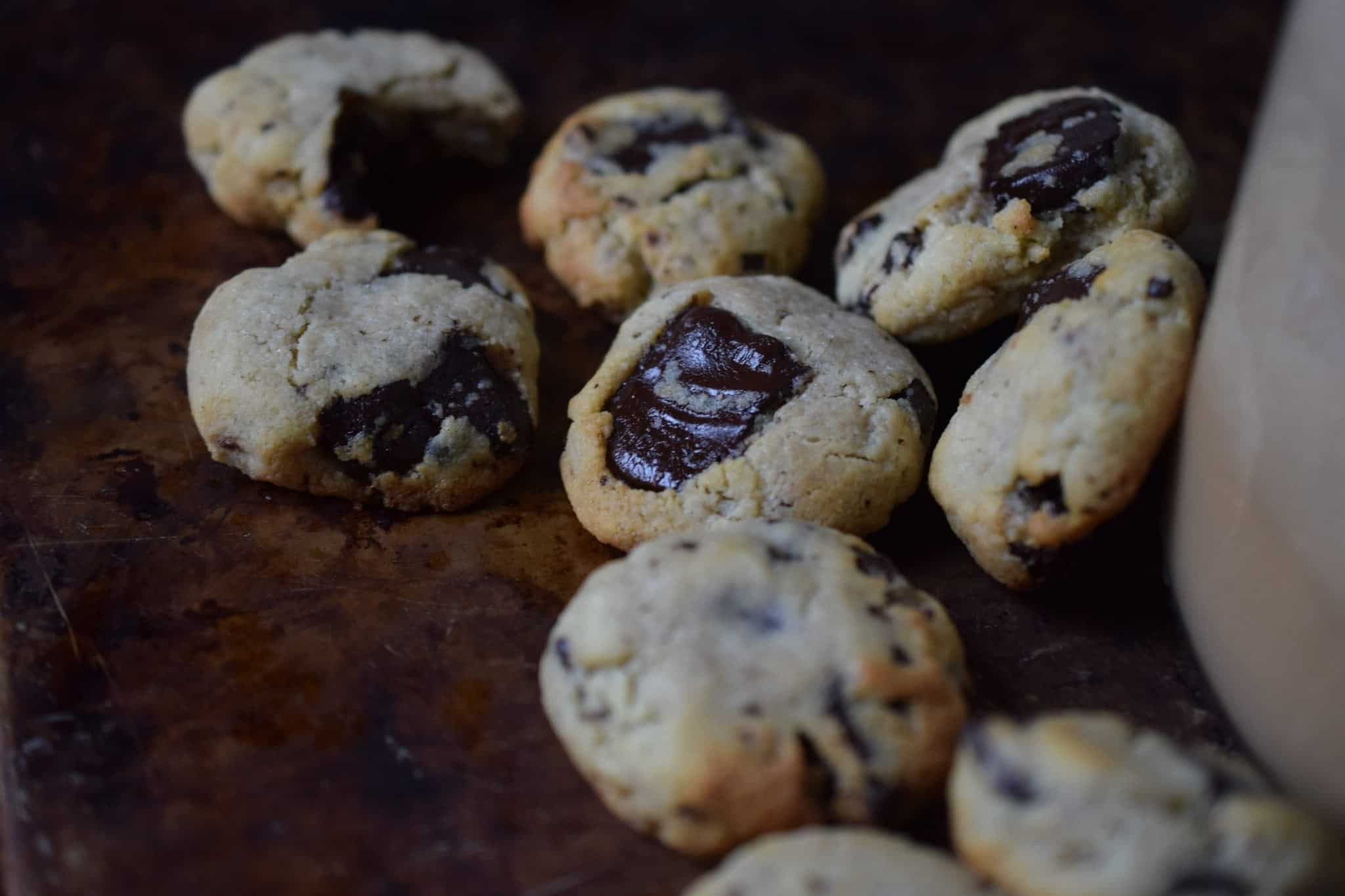 chocolate chip cookies on a table