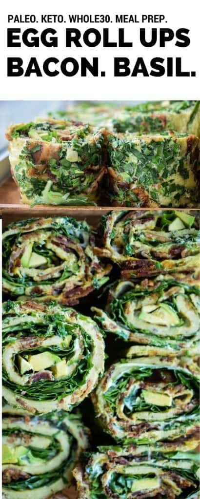 eggs rolled with greens and bacon