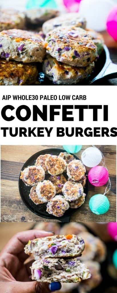 confetti turkey burgers with colorful lanterns and a woman's hand holding a burger