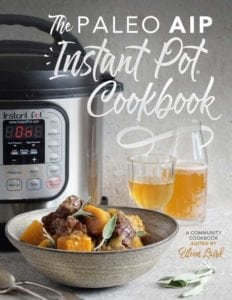 Image of Instant Pot Cookbook and plate of food layout