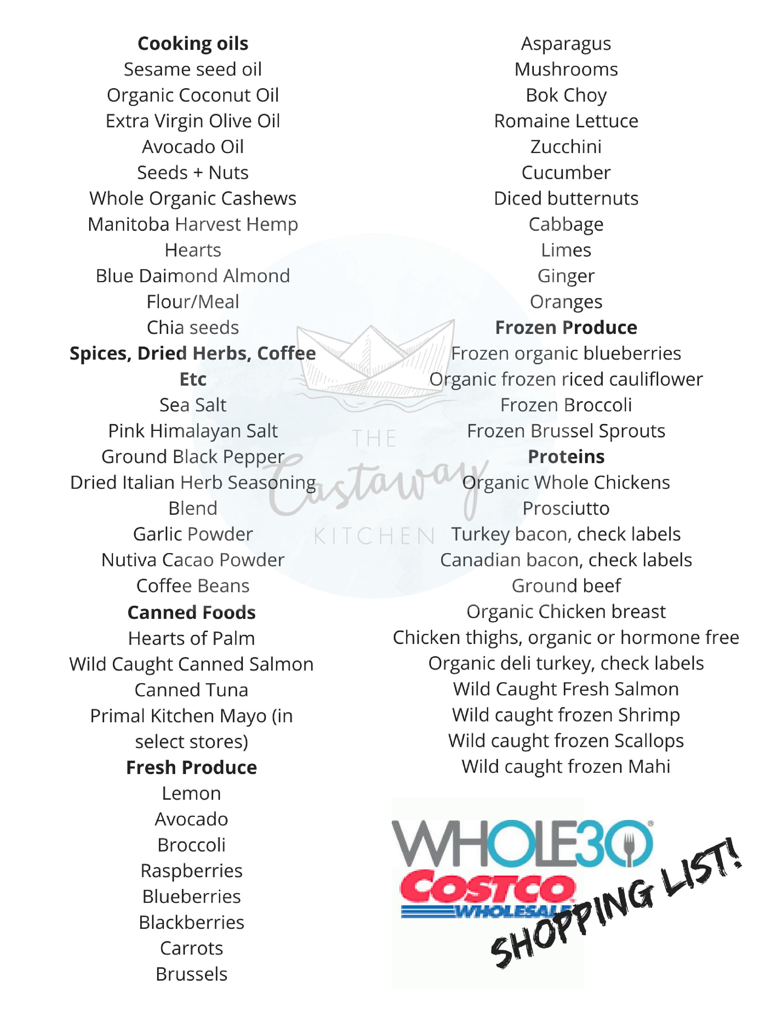 Whole30 Costco Shopping List (compliant printable list!)