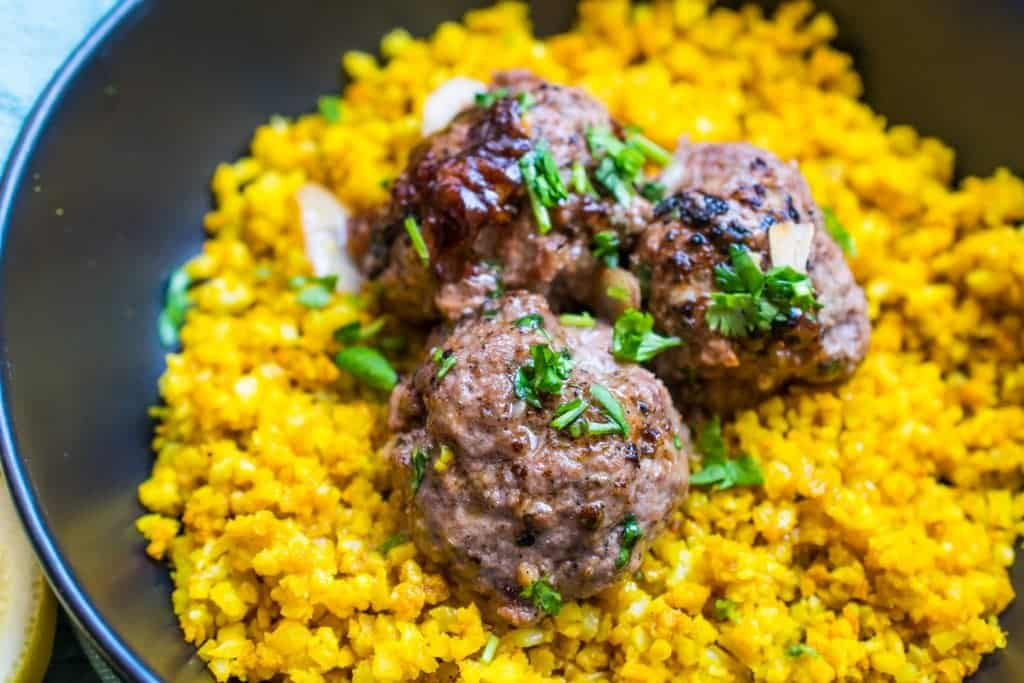 keto meatballs and rice