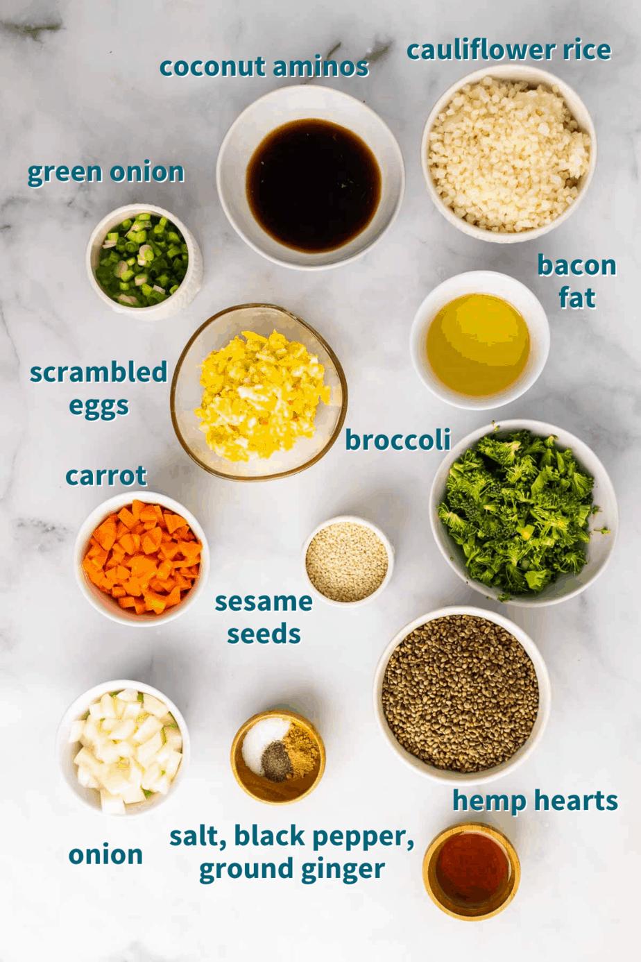 Ingredients for Crispy Sheet Pan Cauliflower Fried Rice