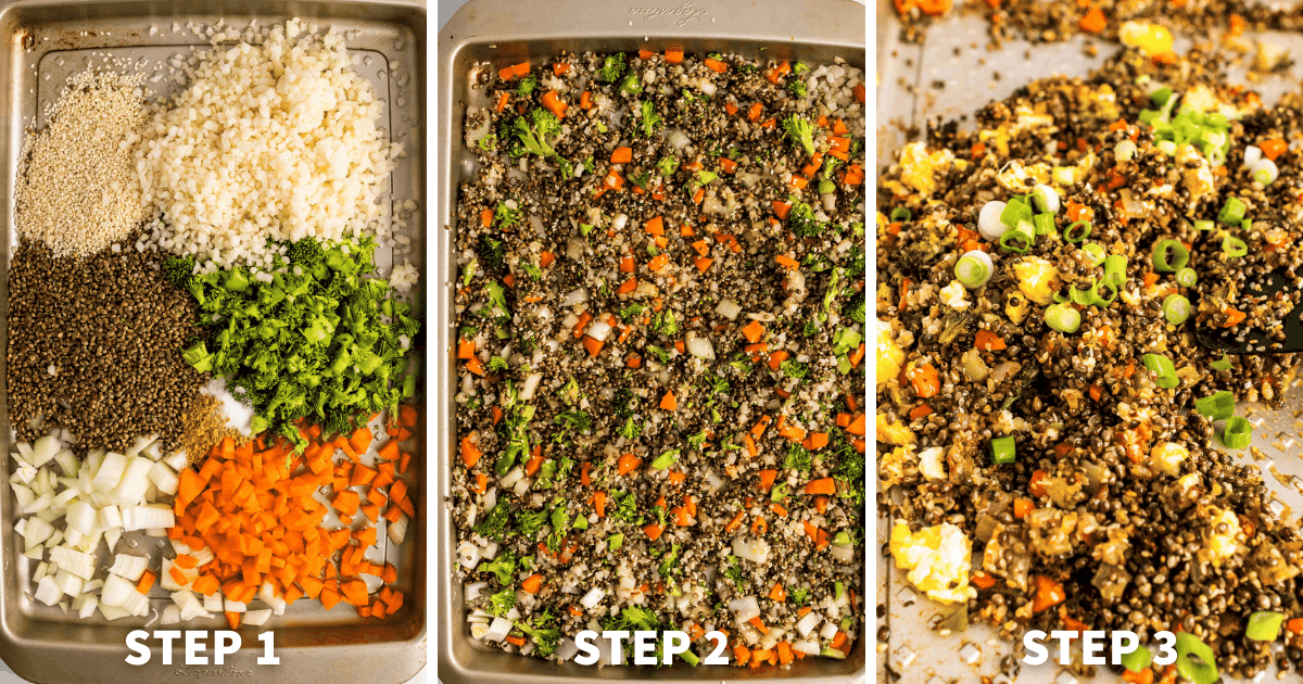 Step by step directions for Crispy Sheet Pan Cauliflower Fried Rice