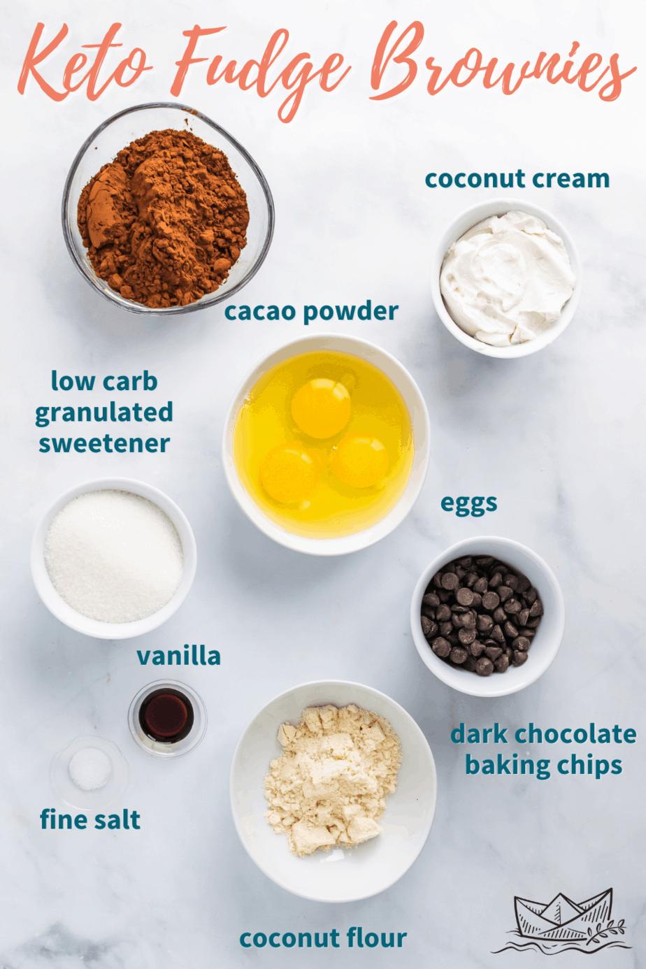 Ingredients for Keto Fudge Brownies.