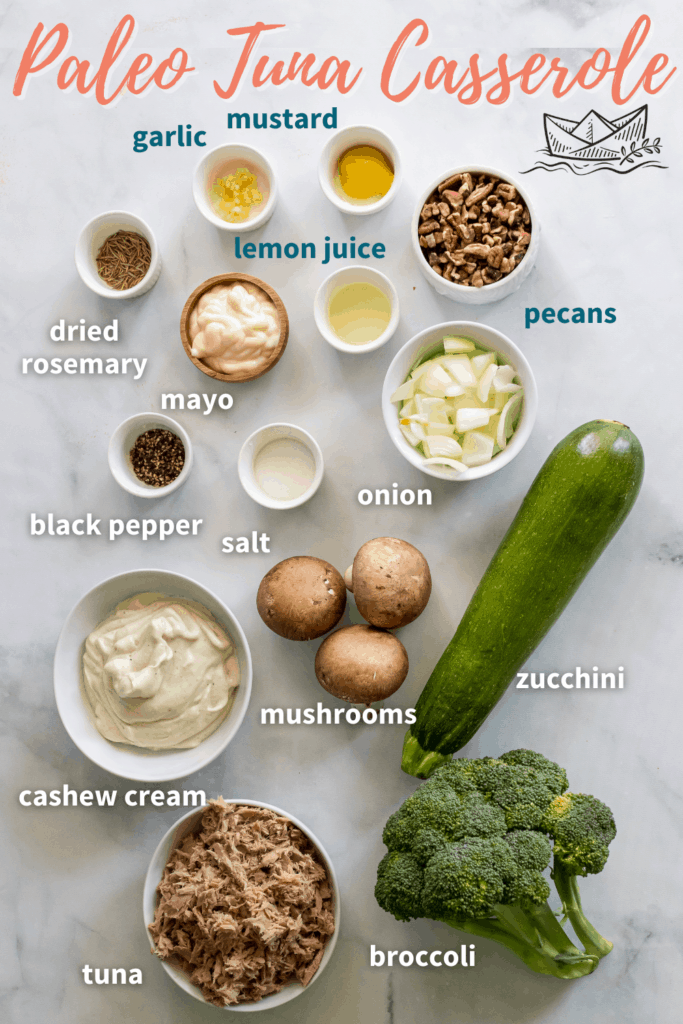 Ingredients for Paleo Tuna Zoodle Casserole.