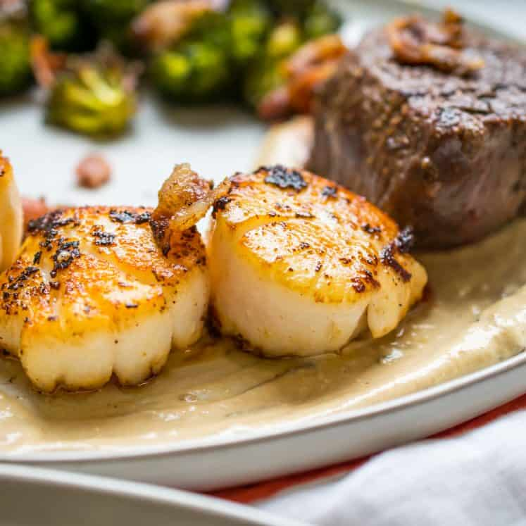 seared scallop and steak
