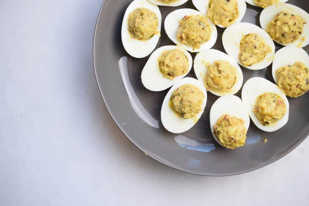 garlic bacon deviled eggs