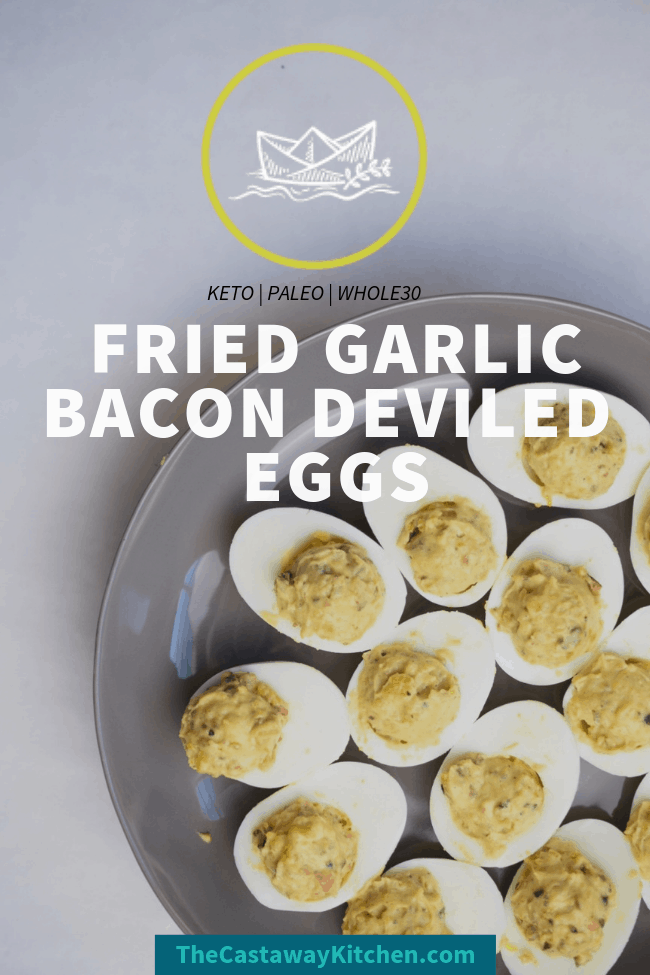 fried garlic bacon deviled eggs