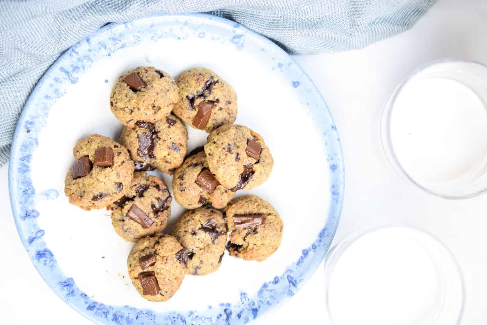 Egg Free Tahini Chocolate Chip Cookies (Keto, Dairy Free