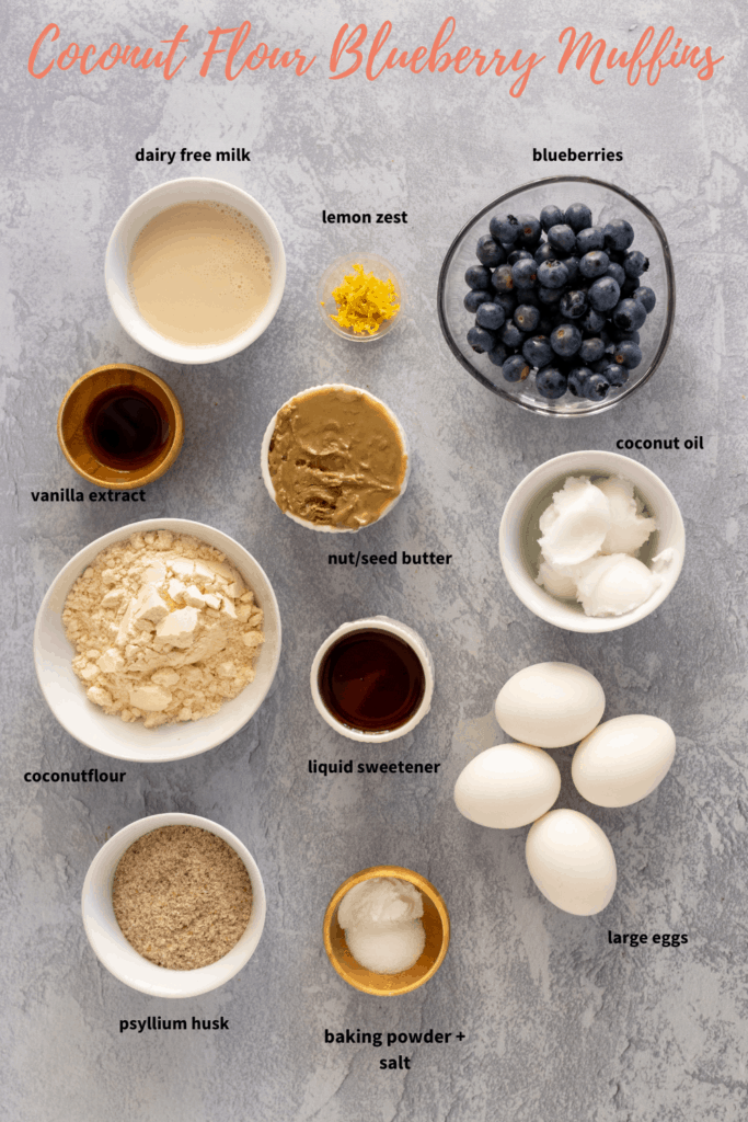 nut free blueberry muffin ingredeints