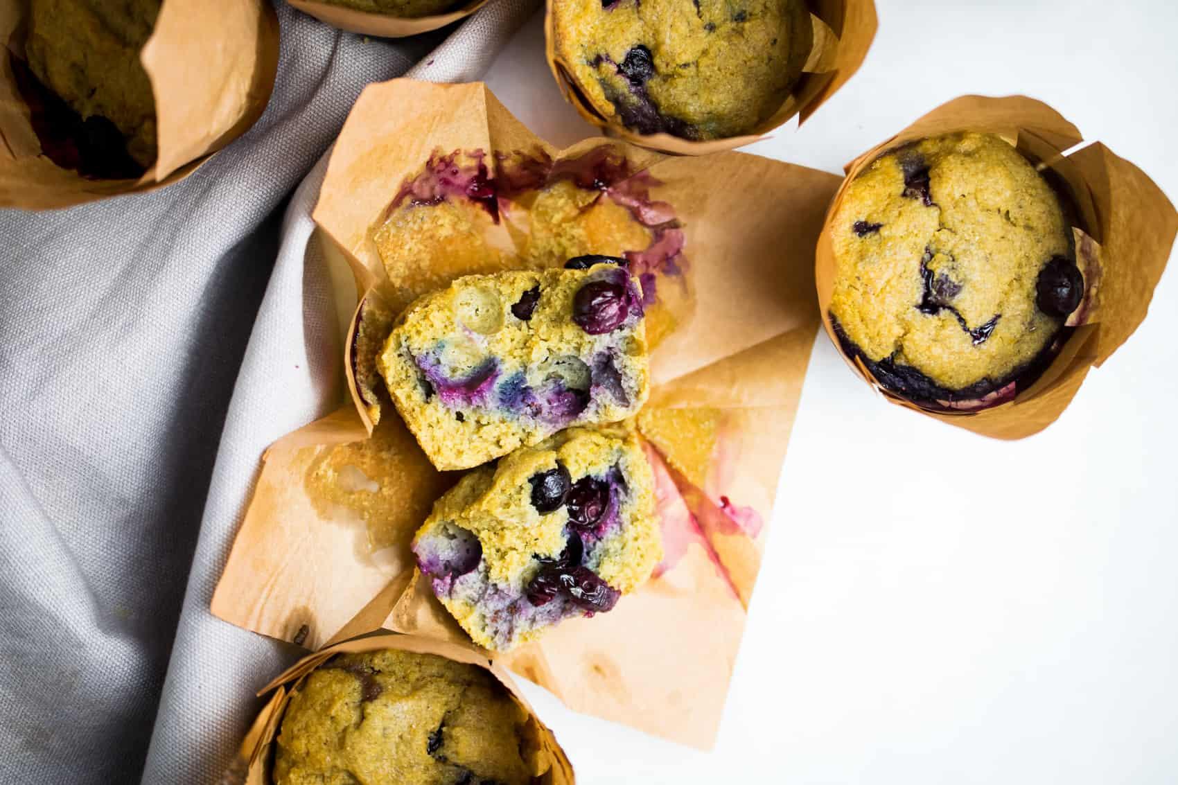 Coconut Flour Blueberry Muffins (paleo, keto, dairy free