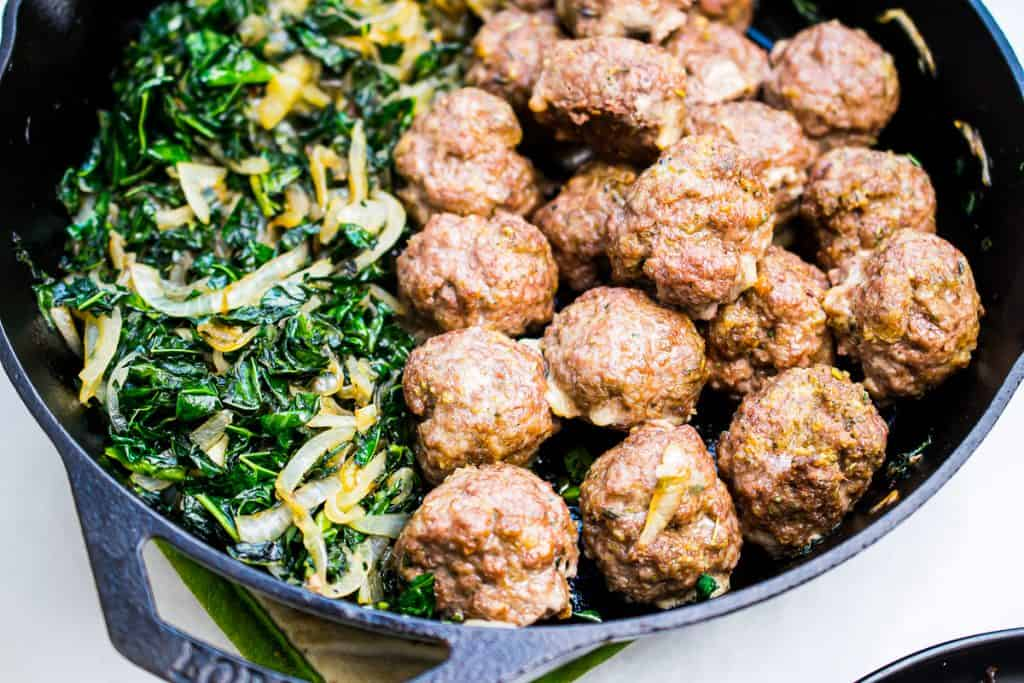 meatballs with kale and mushrooms