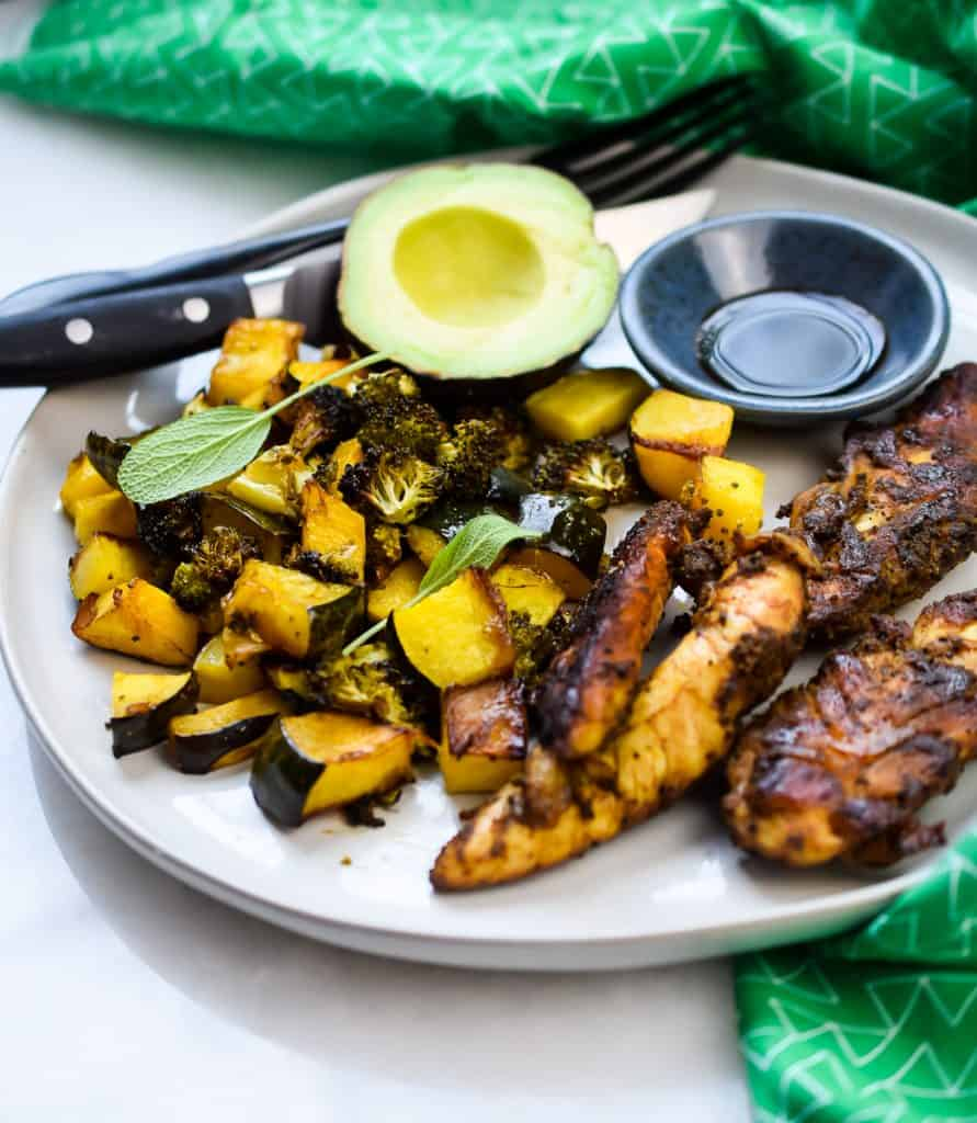 Sheet Pan Spiced Chicken and Balsamic Winter Squash