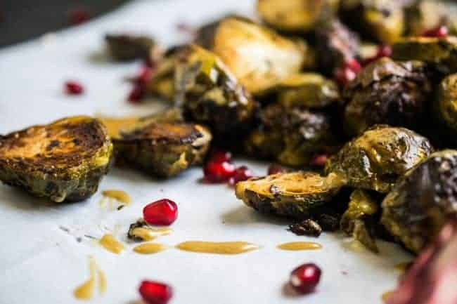 Dijon Pomegranate Roasted Brussels Sprouts | The Castaway Kitchen