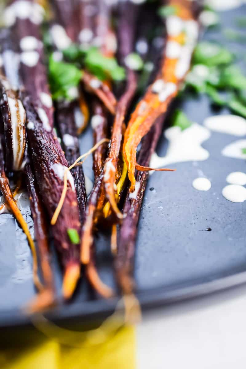 Slow Roasted Cinnamon Carrots with Tahini Drizzle | The Castaway Kitchen