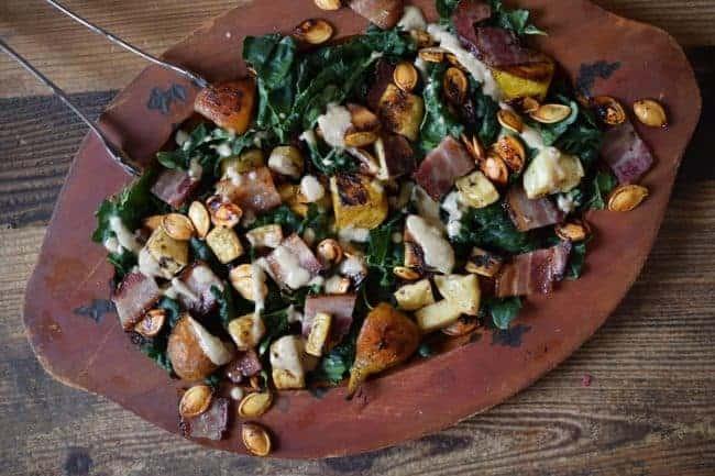 Kale Bacon Salad with Apple Vinaigrette | The Castaway Kitchen
