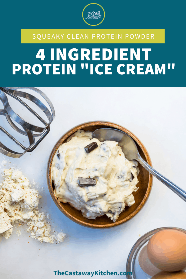 This squeaky clean protein powder is my go to for my favorite treat: paleo protein powder ice cream! Only 4 ingredients and dairy and nut free!