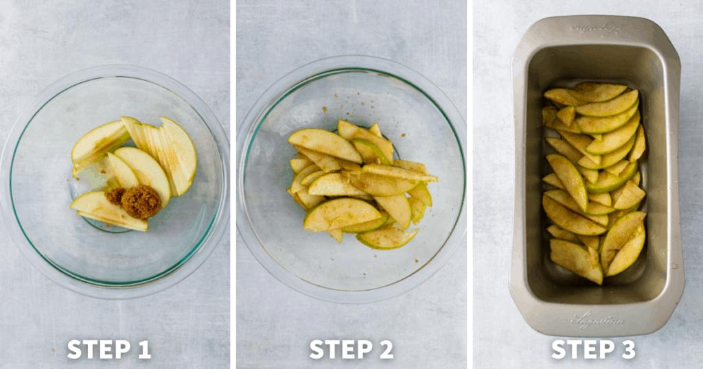 apple cake steps 1-3