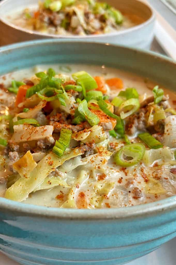creamy beef and cabbage soup