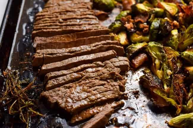 London Broil with Coconut Bacon Brussels
