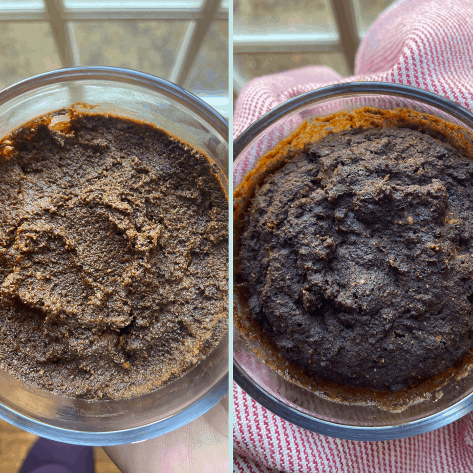 Before and after microwaving AIP Brownie Mug Cake.