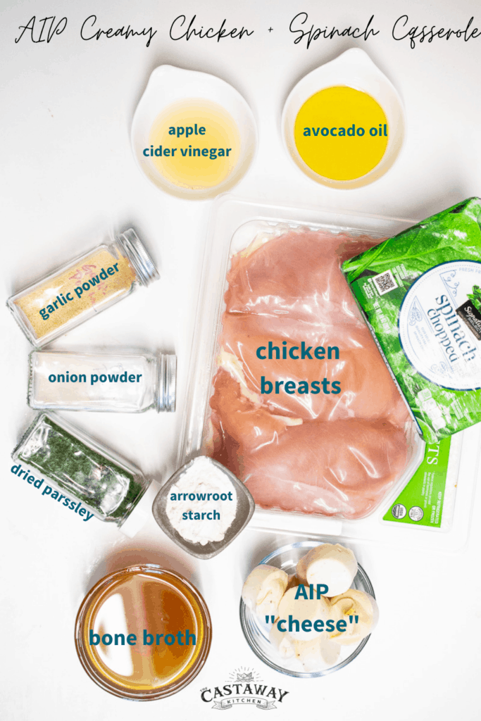 Ingredients for AIP Chicken Casserole.