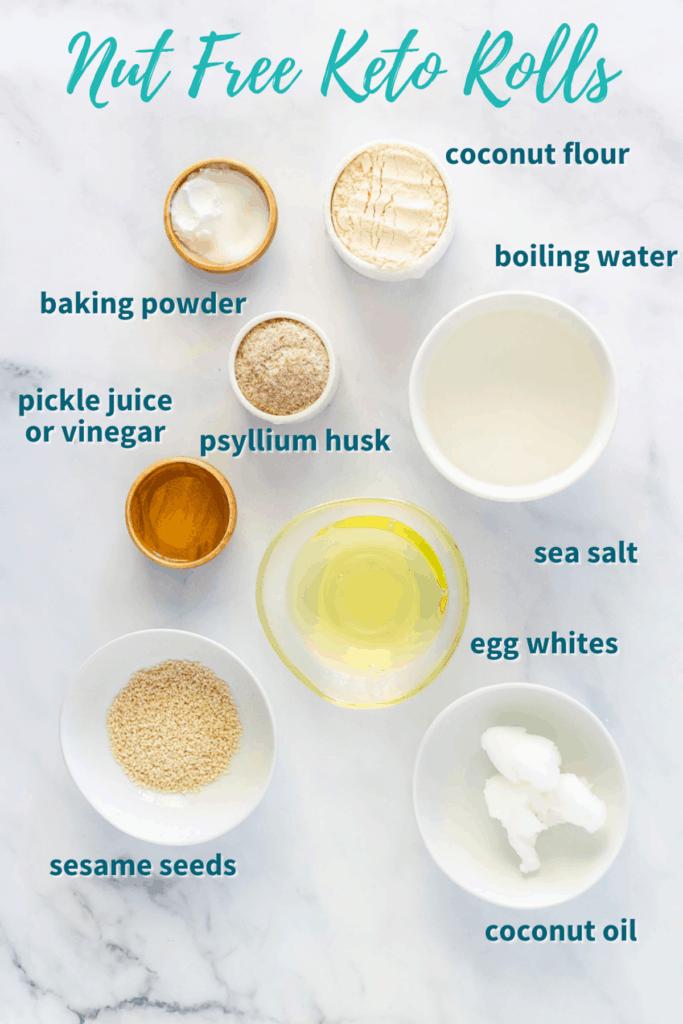 Ingredients for Nut Free Keto Rolls