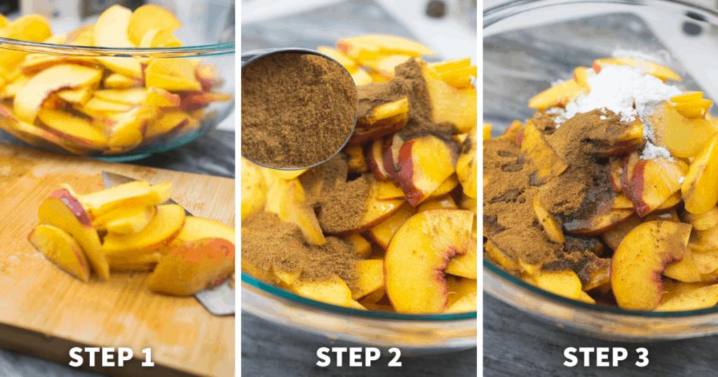 step by step peach cobbler